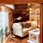 Model sofa and lamp