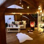Model sofa and log burner